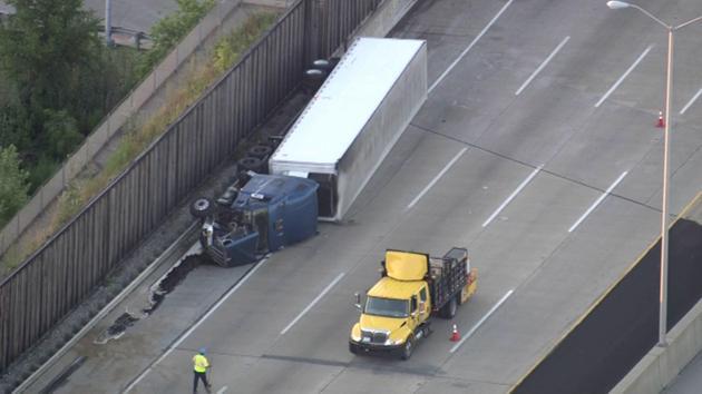 flipped semi-truck