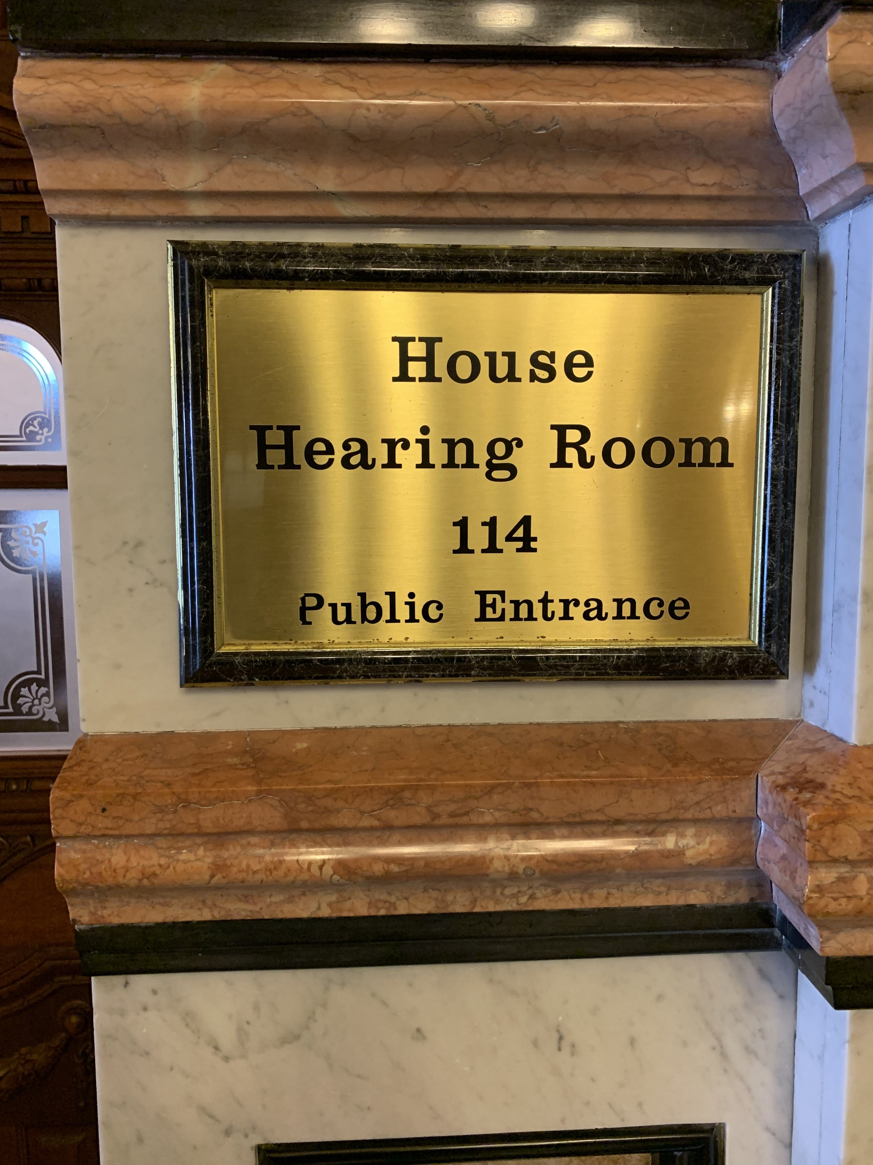 House Hearing Room 114 Sign